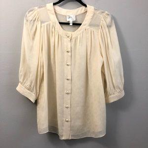 Milly silk babydoll blouse cream 4.